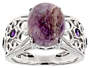Purple Russian Charoite Rhodium Over Sterling Silver Ring .20ctw