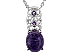 Purple Russian Charoite Rhodium Over Sterling Silver Pendant With Chain .09ctw