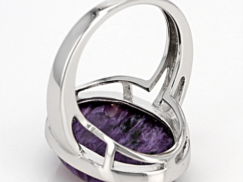 Purple Charoite Sterling Silver Ring