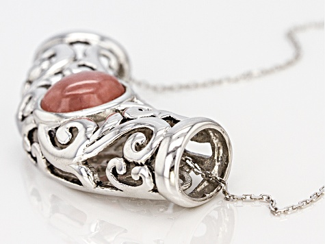 Pink Rhodochrosite Silver Pendant With Chain