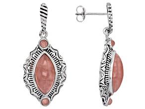 Pink Rhodochrosite Silver Earrings
