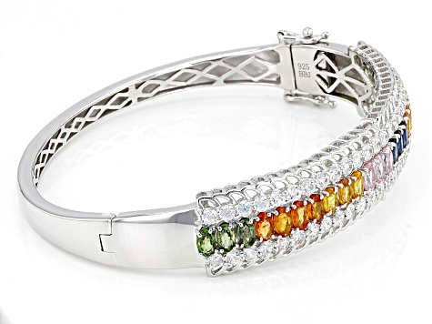 Mixed Color Sapphire Silver Bangle Bracelet 14.84ctw