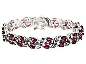 Purple Rhodolite Sterling Silver Bracelet 9.54ctw