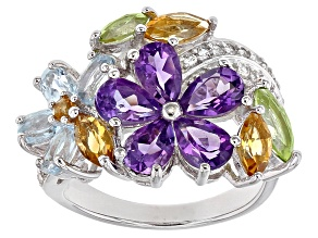 Multi Color Sterling Silver Ring 4.65ctw