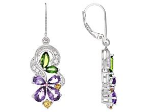 Multi Color Sterling Silver Earrings 2.82ctw