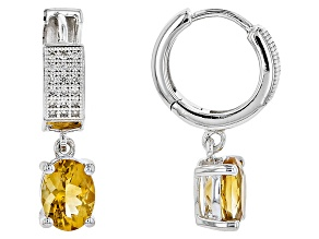 Yellow Citrine Sterling Silver Earrings 2.09ctw