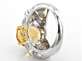 Yellow Citrine Sterling Silver Ring 4.37ctw