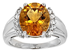 Yellow Madeira Citrine Sterling Silver Ring 4.07ctw
