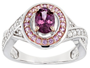 Purple Garnet Sterling Silver Ring 1.44ctw