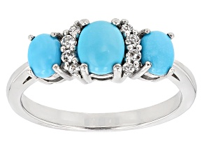 Blue Turquoise Rhodium Over Sterling Silver Ring .08ctw
