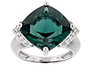 Teal Fluorite Silver Ring 12.57ctw