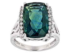 Teal Fluorite Silver Ring 9.45ctw