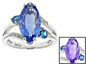 Blue Color Change Fluorite Silver Ring 4.32ctw