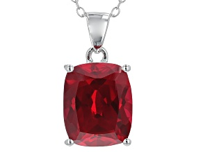 Red Ruby Sterling Silver Pendant With Chain 7.00ct