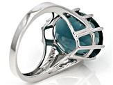Teal Fluorite Silver Ring 11.11ctw