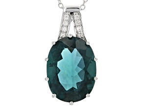 Teal Fluorite Silver Pendant With Chain 11.00ctw