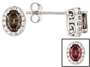 Color Shift Garnet Sterling Silver Earrings 1.20ctw