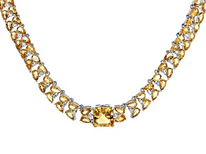 Yellow Golden Citrine Silver Bolo Necklace 18.85ctw
