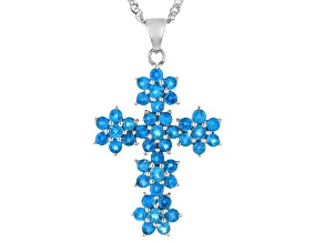 Blue Apatite Rhodium Over Sterling Silver Cross Pendant With Chain 3.25ctw