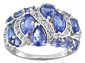 Blue Tanzanite And White Topaz Sterling Silver Ring 2.82ctw