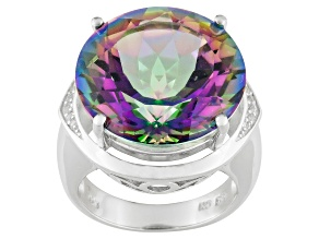 """Peacock"" Color Quartz Sterling Silver Ring 19.36ctw"