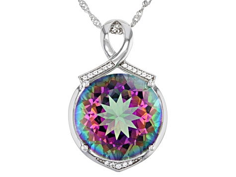 Multi Color Quartz Sterling Silver Pendant With Chain 18.53ctw