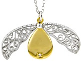 White Diamond Accent Rhodium & 14K Yellow Gold Over Sterling Silver Pendant