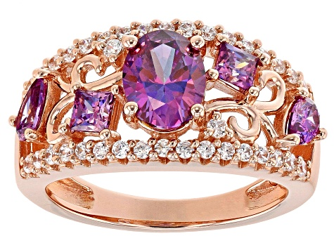 Purple and White Zirconia From Swarovski ® 18K Rose Gold Over Sterling Silver Center Design Ring
