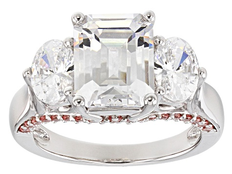 Fancy Pink and White Zirconia From Swarovski ® Rhodium Over Sterling Silver Ring 9.54ctw