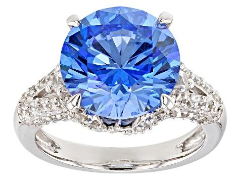 c9c54398baf Blue & White Zirconia From Swarovski ® Rhodium Over Sterling Silver Center  Design Ring 13.01CTW