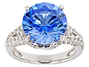 Blue & White Zirconia From Swarovski ® Rhodium Over Sterling Silver Center Design Ring 13.01CTW