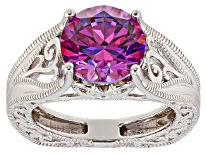Purple Zirconia From Swarovski ® Rhodium Over Sterling Silver Center Design Ring 6.58ctw