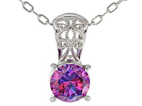 Purple Zirconia From Swarovski ® Rhodium Over Sterling Silver Center Design Pendant 6.58ctw