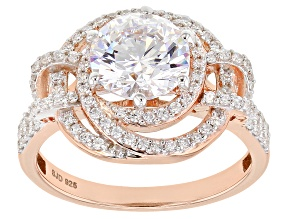 Swarovski ® White Cubic Zirconia 18K Rose Gold Over Sterling Silver Ring 4.13ctw
