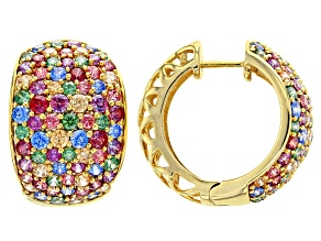 Multicolor Zirconia from Swarovski ® 18K Yellow Gold Over Sterling Silver Hoop Earrings 10.74ctw