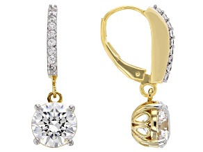 White Zirconia From Swarovski ® 18K Yellow Gold Over Sterling Silver Dangle Earrings 7.36ctw