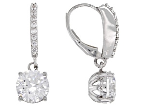 White Zirconia From Swarovski ® Rhodium Over Sterling Silver Dangle Earrings 7.36ctw