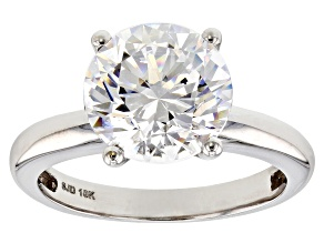 White Zirconia From Swarovski ® 10K White Gold Solitaire Ring 4.81ctw