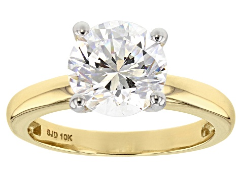 c7c983be437826 White Zirconia From Swarovski ® 10K Yellow Gold Solitaire Ring 4.81 ...