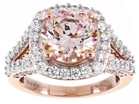 936d4bdc39c Swarovski ® Morganite Color & White Cubic Zirconia 18K Rose Gold Over  Sterling Silver Ring 10.00