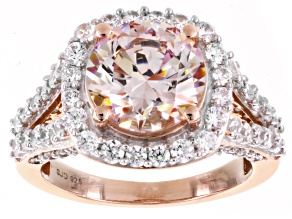 Swarovski ® Morganite Color & White Cubic Zirconia 18K Rose Gold Over Sterling Silver Ring 10.00ctw