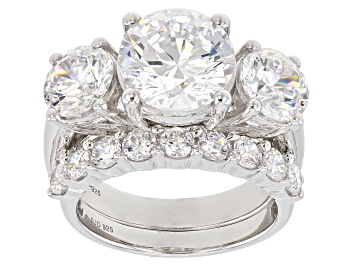 Picture of Swarovski ® White Zirconia Rhodium Over Sterling Silver Ring With Band 12.98CTW