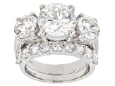 Swarovski ® White Zirconia Rhodium Over Sterling Silver Ring With Band 12.98CTW
