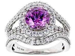 Swarovski ® Fancy Purple & White Zirconia Rhodium Over Sterling Silver Ring 6.03ctw