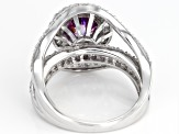 Swarovski ® Fancy Purple & White Zirconia Rhodium Over Sterling Silver Ring 6.03ctw