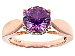 Purple & White Cubic Zirconia 18K Rose Gold Over Sterling Silver Ring 3.51ctw