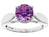 Swarovski ® Fancy Purple & White Cubic Zirconia Rhodium Over Sterling Silver Ring 3.51ctw