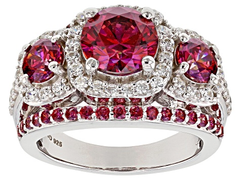 bf6cf0c2043 Red and White Zirconia From Swarovski ® Rhodium Over Sterling Silver Center  Design Ring 6.96ctw