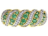 Swarovski ® Fancy Green White Cubic Zirconia 18K Yellow Gold Over Sterling Silver Ring 1.00ctw