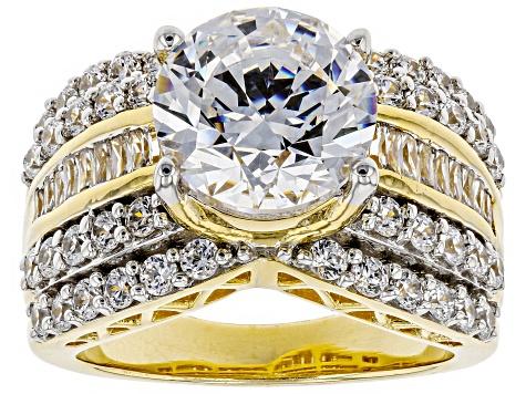 9723122db Swarovski ® White Zirconia 18K Yellow Gold Over Sterling Silver Center  Design Ring 9.49ctw